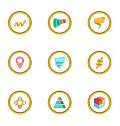 Diagram icons set cartoon style vector