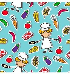 Cartoon seamless pattern with chef and food vector