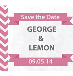Save the date pink chevron with banner vector