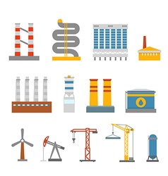 Modern factory buildings collection vector