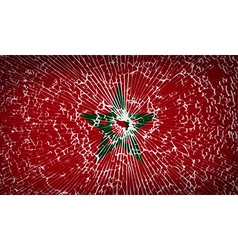 Flags morocco with broken glass texture vector