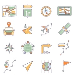 Map icons line vector