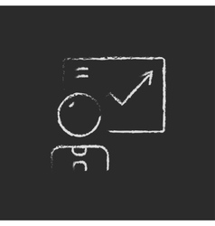 Businessman with infographic icon drawn in chalk vector image