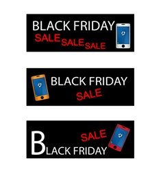 Purse on three black friday sale banners vector
