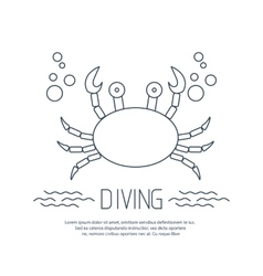 Diving icon with crab and bubbles vector