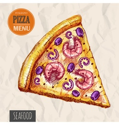 A slice of seafood pizza vector