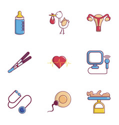 Baby health icons set flat style vector