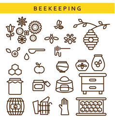 Beekeeping line icon set vector