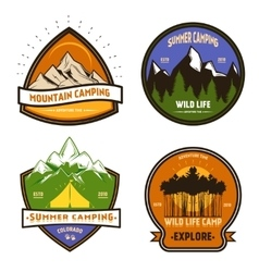 Camping colorful elements set vector