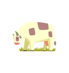 Chubby cow toy farm animal cute sticker vector