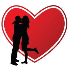 couple kissing with heart silhouette vector image vector image