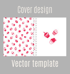 Cover design with pink muffins vector