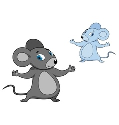Cute little grey cartoon mouse vector image vector image