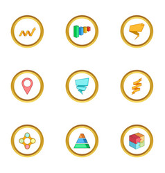 diagram icons set cartoon style vector image