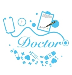 doctor title with medical instruments vector image