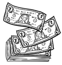 doodle money stack vector image