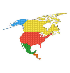 dotted line political map of north america vector image