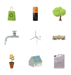 Environment icons set cartoon style vector