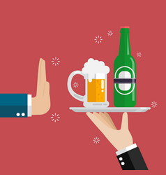 hand gesture rejection a glass of beer vector image vector image