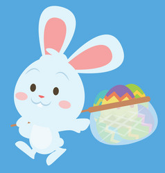 happy bunny with egg style easter theme vector image vector image