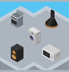 Isometric device set of air extractor music box vector