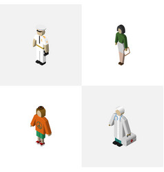isometric people set of seaman pedagogue medic vector image vector image