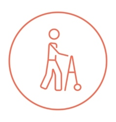 Man with walker line icon vector image