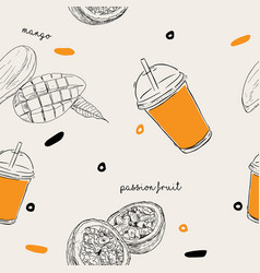 mango and passion fruit smoothie seamless pattern vector image vector image
