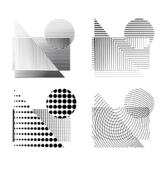 Raster effect dotted figures vector