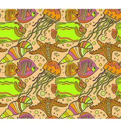 seamless sea pattern with tropical fishes vector image