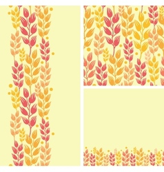 Set of wheat plants seamless pattern and borders vector