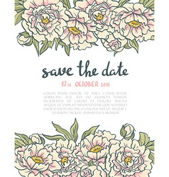 Vintage floral wedding invitation pink roses and vector