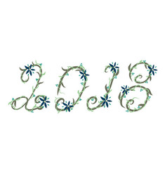 year 2018 in hand drawn flowers vector image