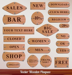 Set wooden plaque vector