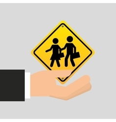road sign school zone icon vector image
