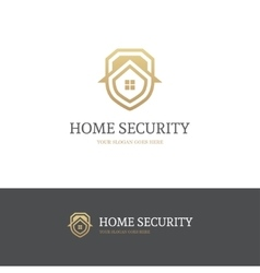 Golden house security logo vector image