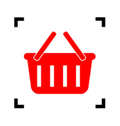 Shopping basket sign  red icon inside vector