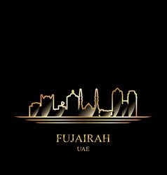 Gold silhouette of fujairah on black background vector