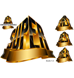 Great best first super word shape ribbon set vector