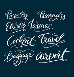 Travel and airport typography vector