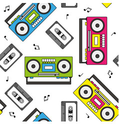 Retro cassette and radio recorder seamless pattern vector