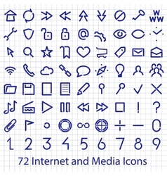 Internet and media user interface icons set vector