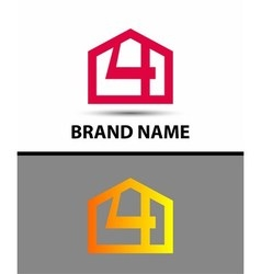 Number 4 logo logotype design with house vector