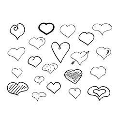 Hand-drawn doodle hearts vector