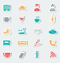 Hotel services icons stickers multicolored vector