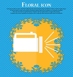 Flashlight icon sign floral flat design on a blue vector