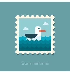 Seagull flat stamp vector