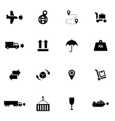 Black logistic icon set vector