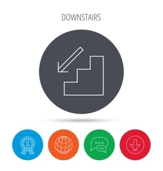 Downstairs icon direction arrow sign vector