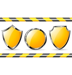 Yellow steel shields vector
